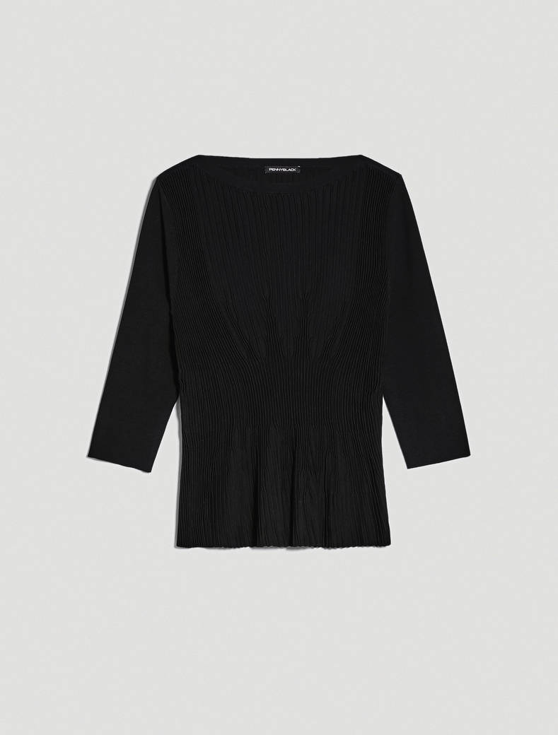Jumper with pleated motif - black - pennyblack