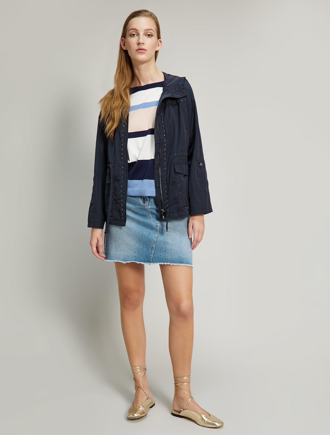 Striped cotton and silk jumper - navy blue pattern - pennyblack