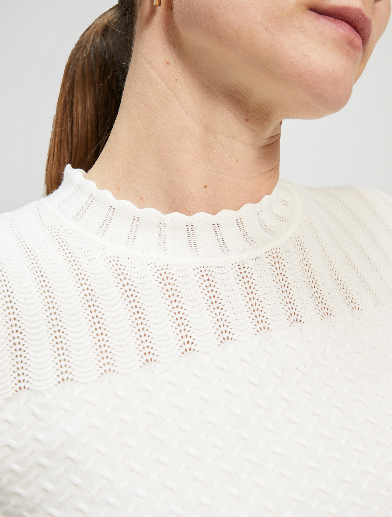 Jumper with weaves and waves - ivory - pennyblack