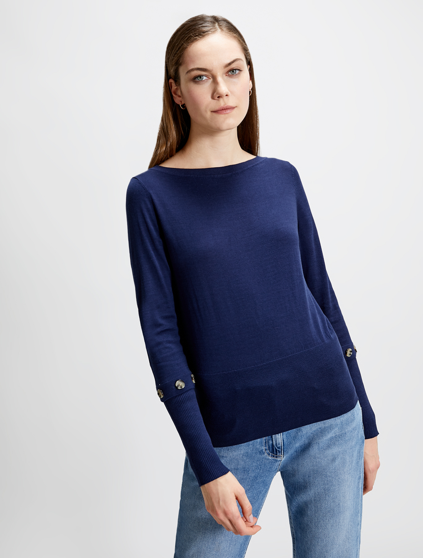 Cotton and silk jumper - navy blue - pennyblack