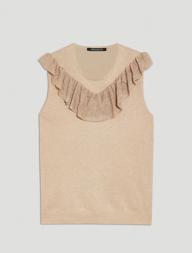 Ruched lamé knit top - ivory - pennyblack