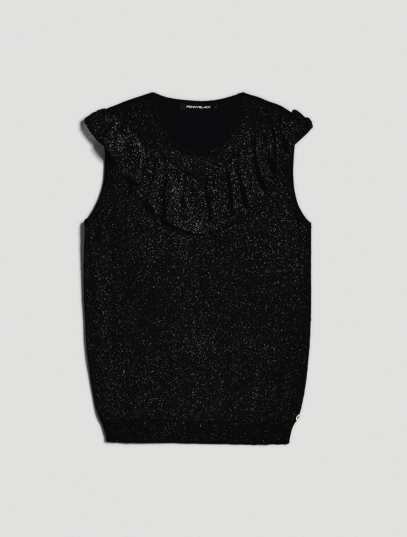 Ruched lamé knit top - black - pennyblack