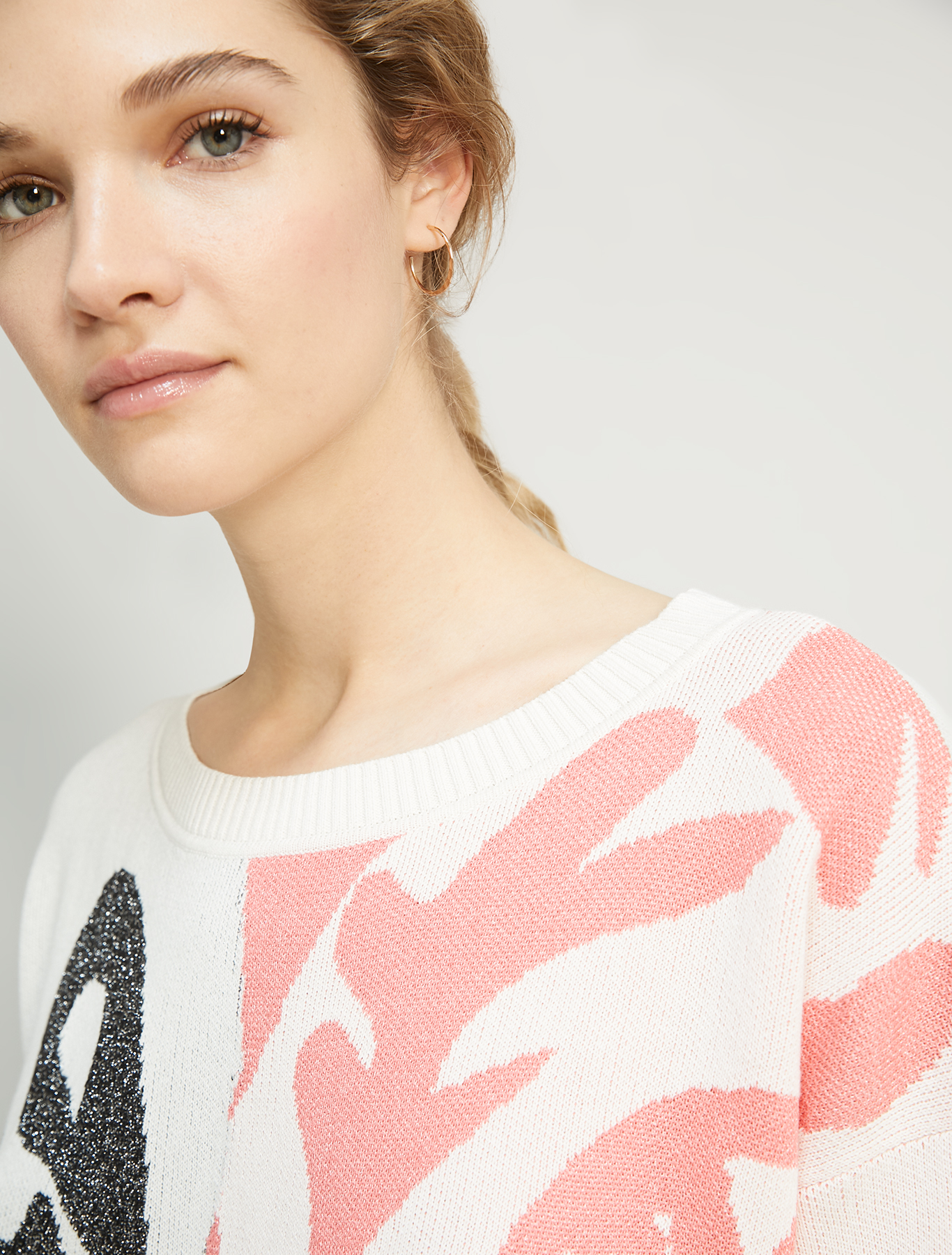 Jacquard jumper with lamé - ivory - pennyblack