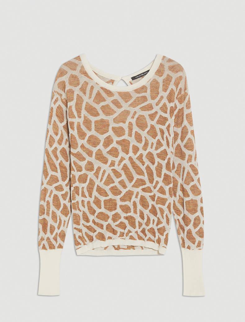 Maglia jacquard giraffa - bianco - pennyblack