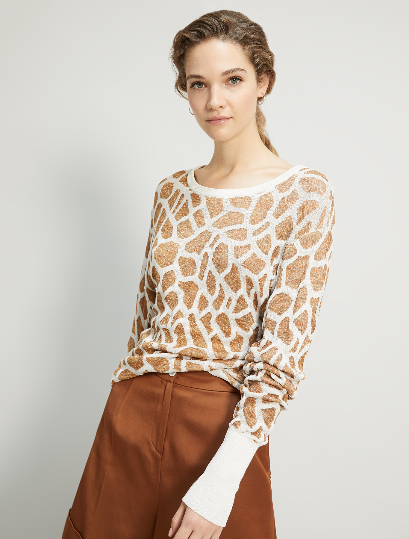 Giraffe jacquard sweater - white - pennyblack