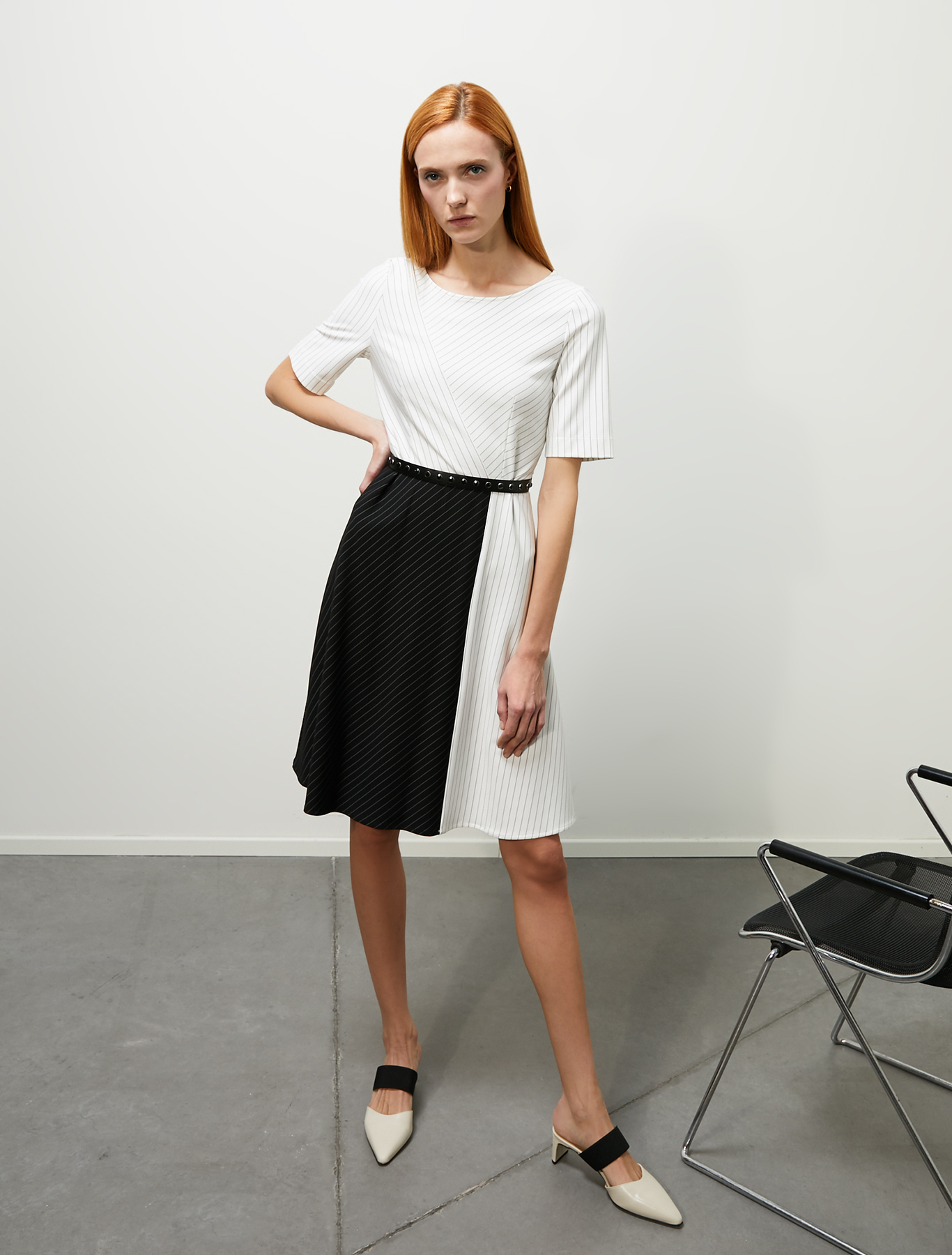 Colour-block dress in jersey - ivory pattern - pennyblack