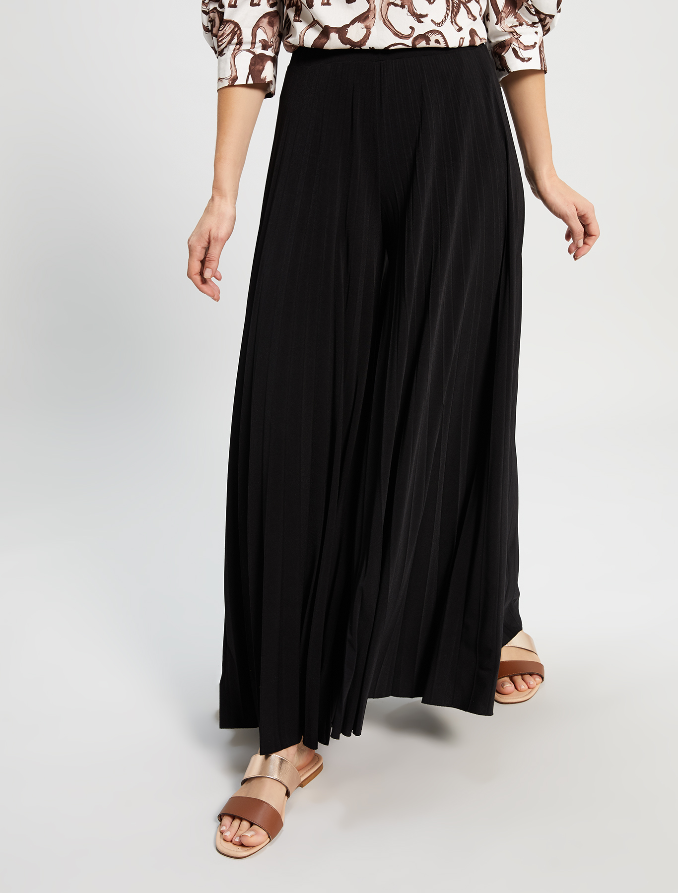 Pleated jersey culottes - black - pennyblack