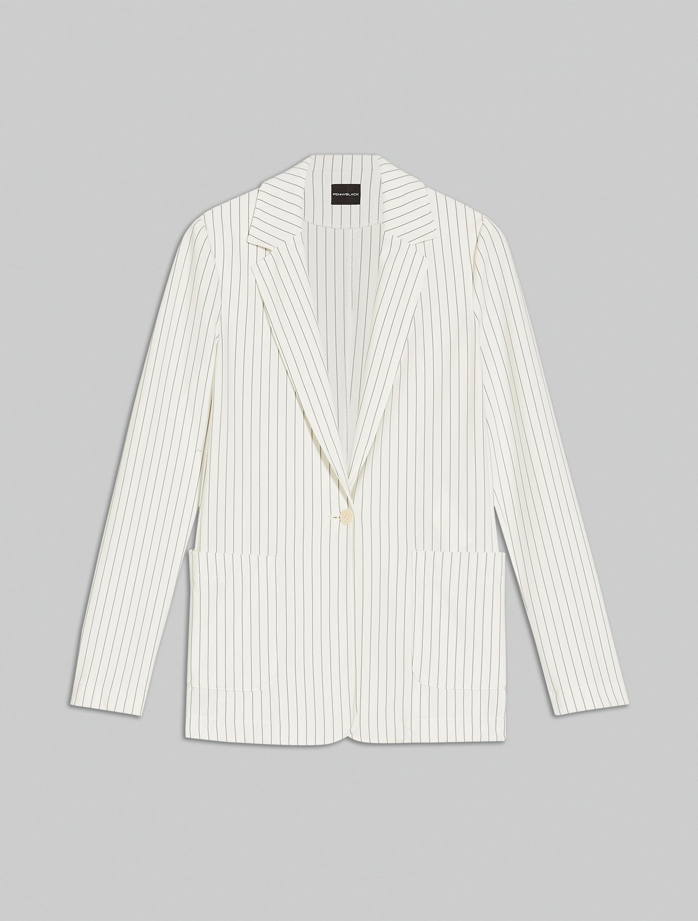 Pinstriped jersey blazer - ivory pattern - pennyblack