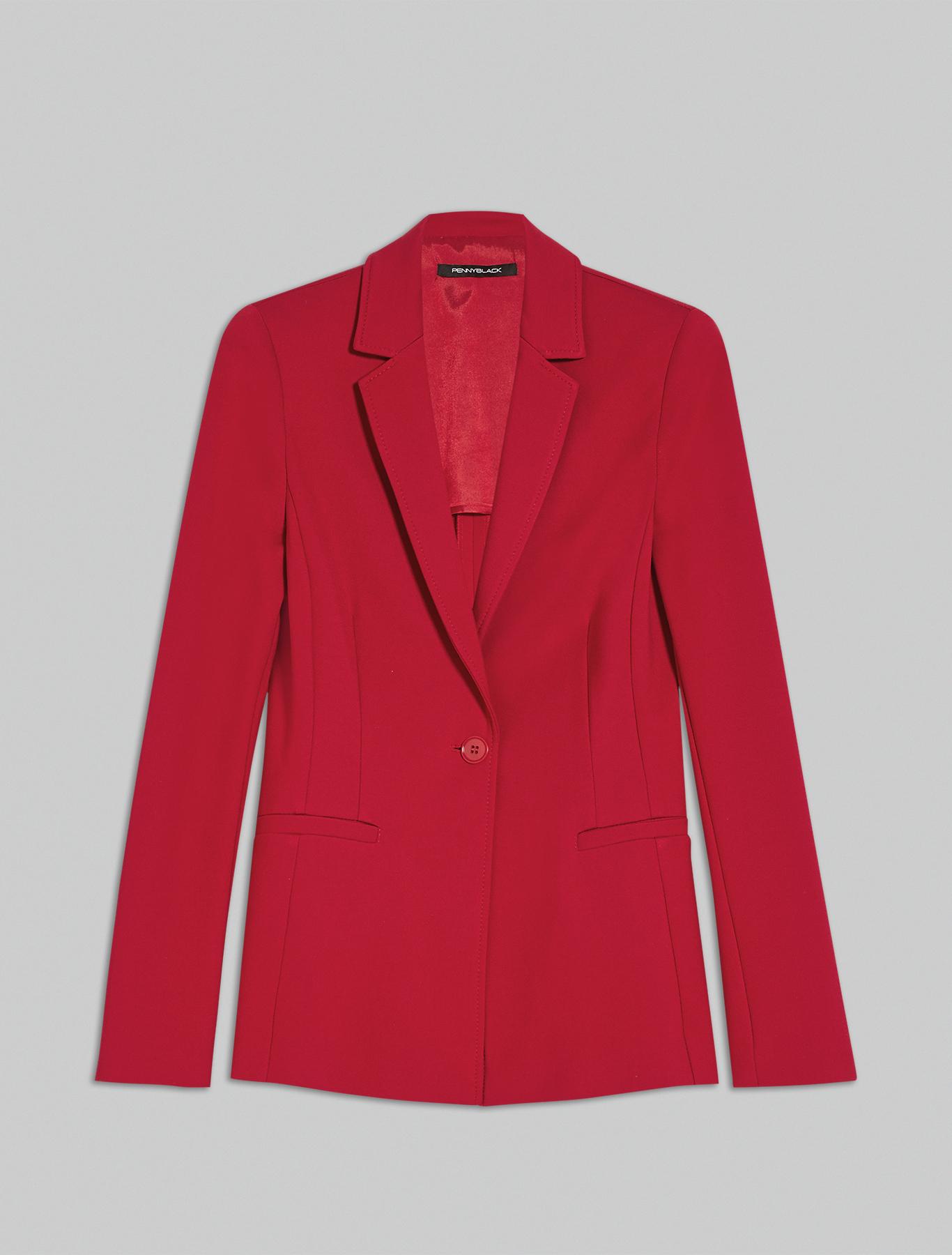 Slim-fit jersey blazer - red - pennyblack