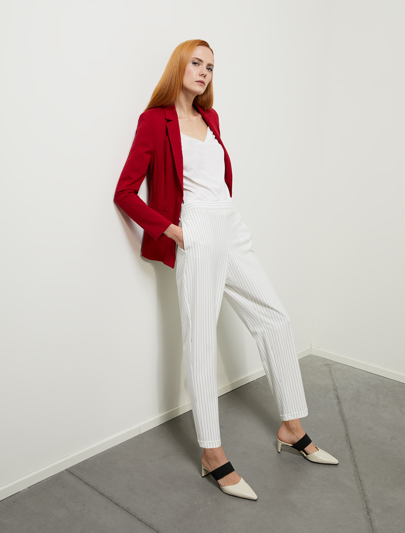 Slim-fit jersey blazer - red - pennyblack