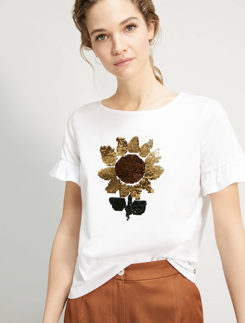 Embroidered cotton T-shirt - ivory - pennyblack