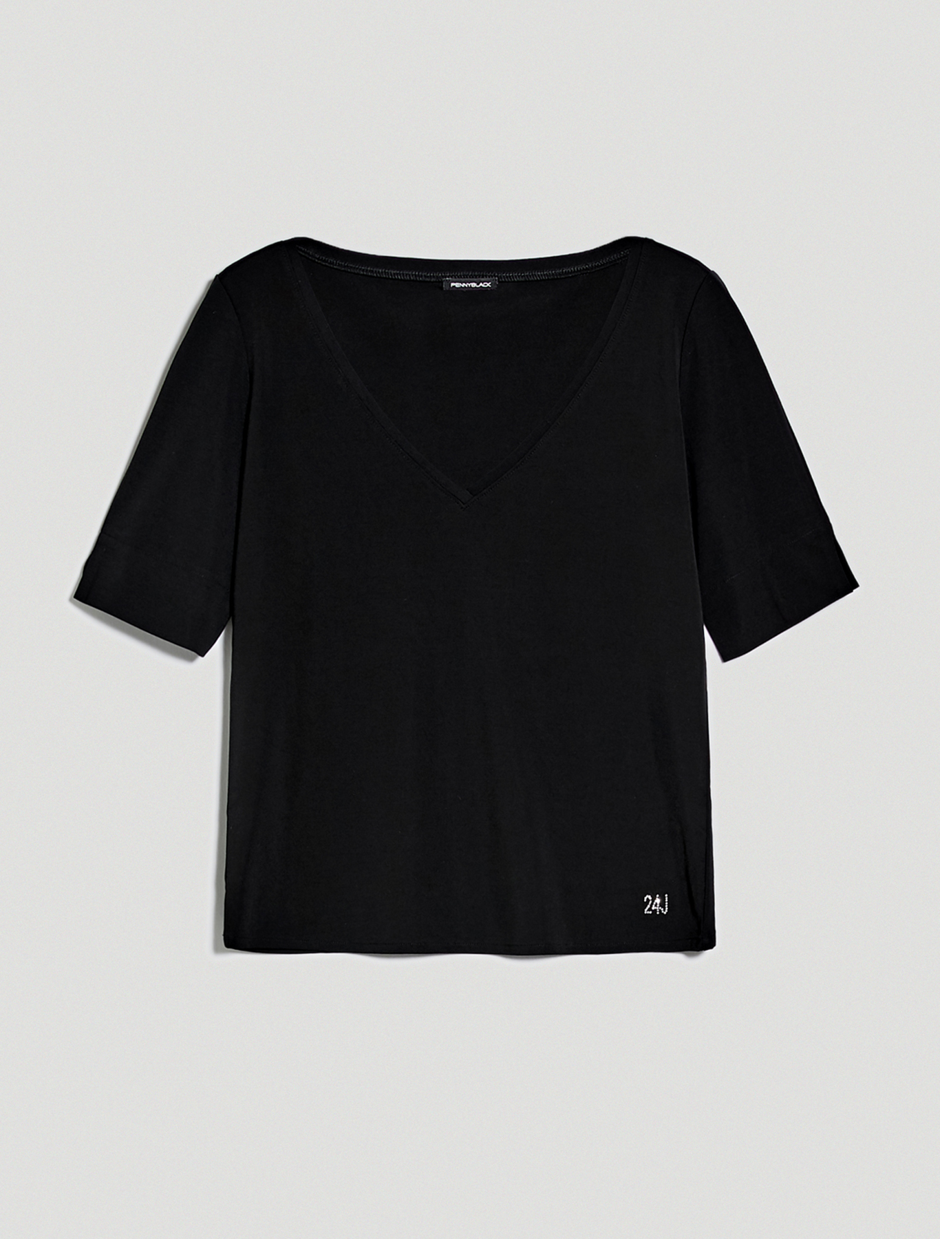 Flowing jersey T-shirt - black - pennyblack