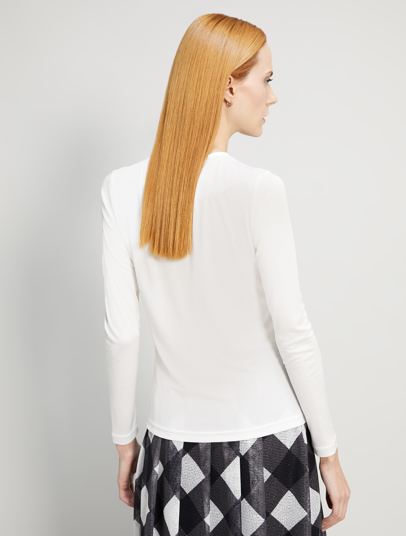 Flowing T-shirt with draping - ivory - pennyblack