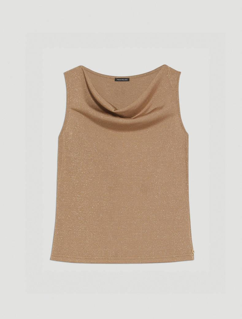 Top in jersey lamé - beige - pennyblack