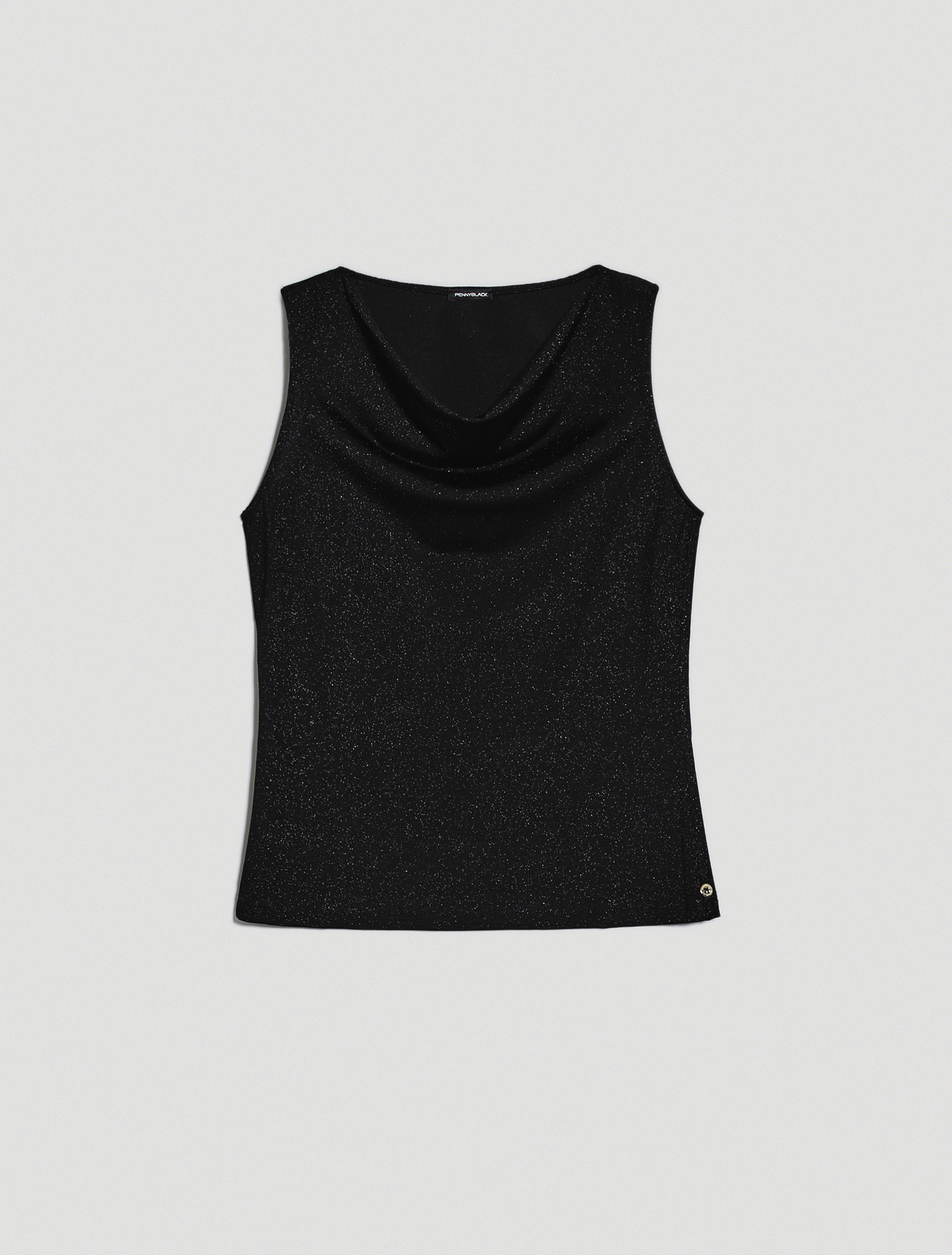 Lamé jersey top - black - pennyblack