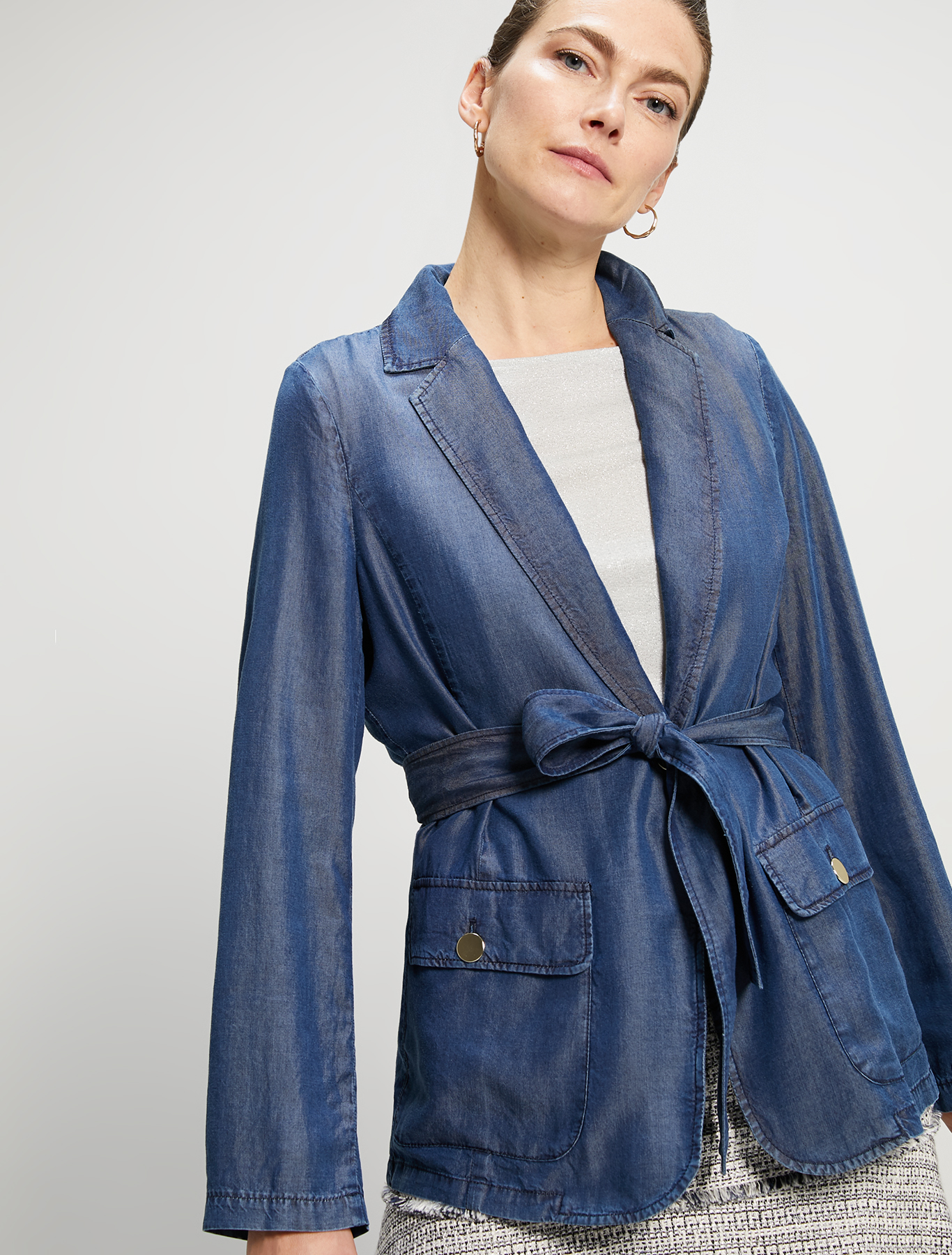Flowing denim blazer - navy blue - pennyblack