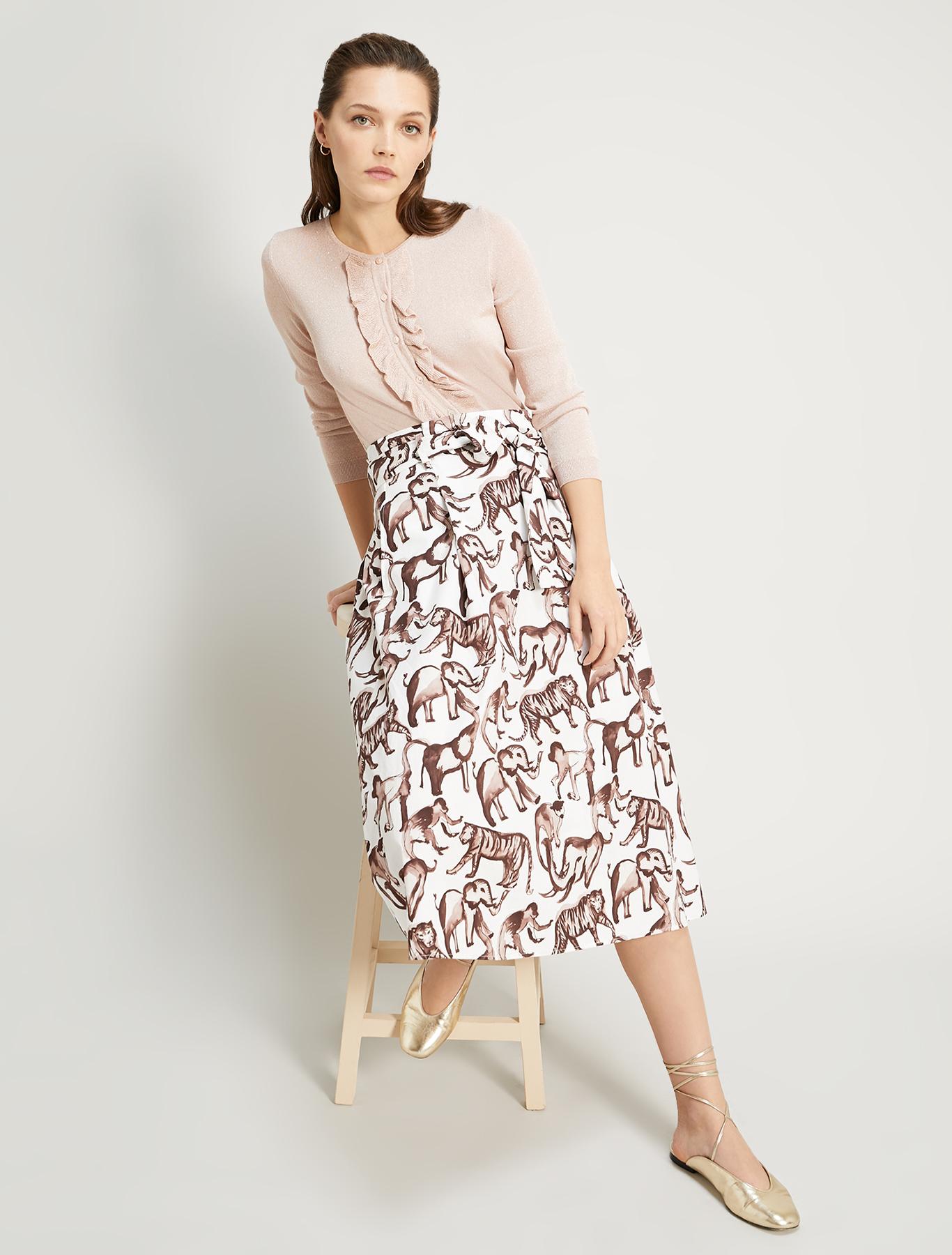 Printed poplin skirt - ivory pattern - pennyblack