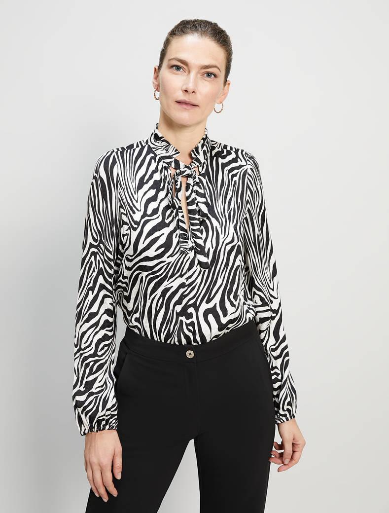 Jacquard zebra print blouse - black pattern - pennyblack