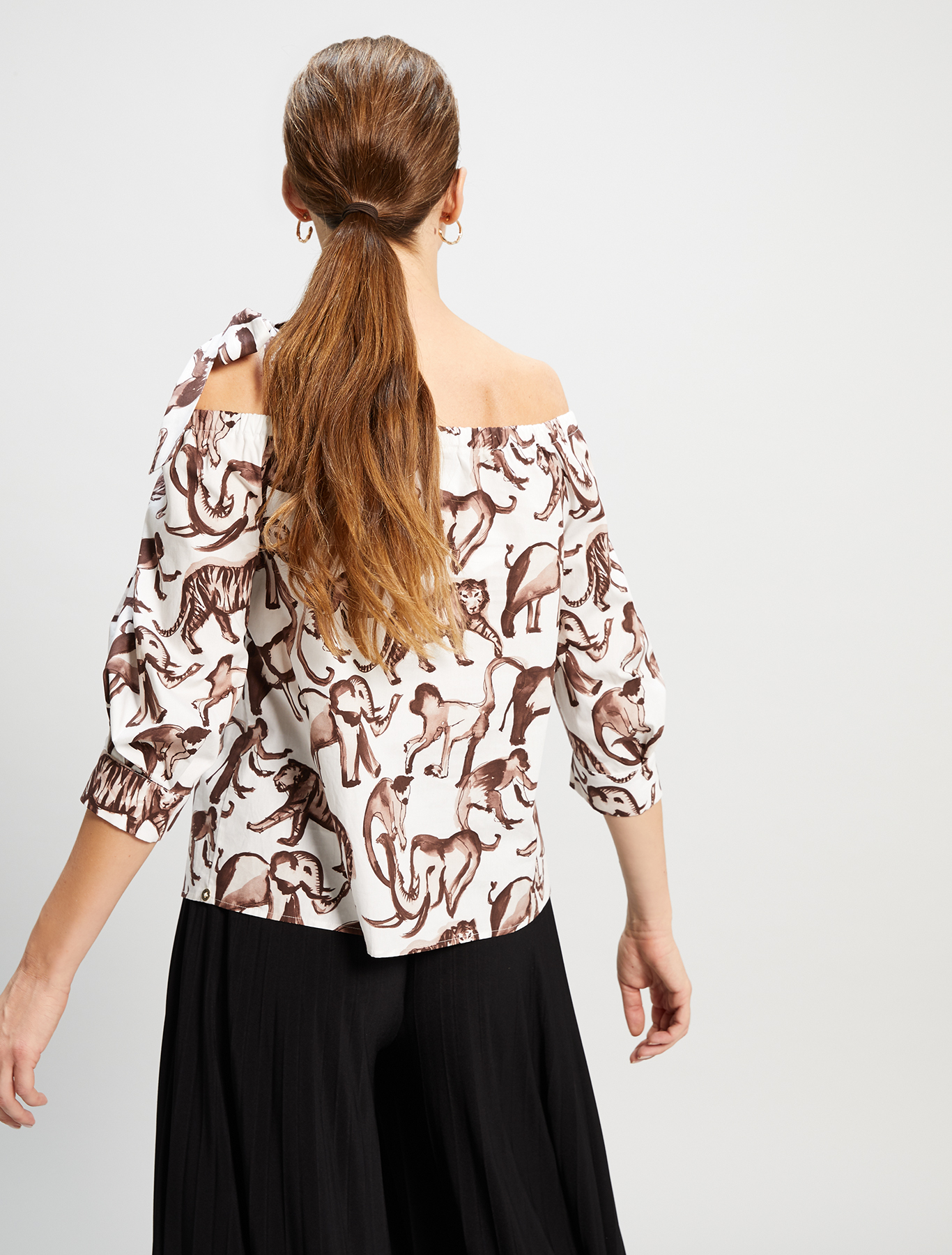 Cotton poplin blouse - ivory pattern - pennyblack