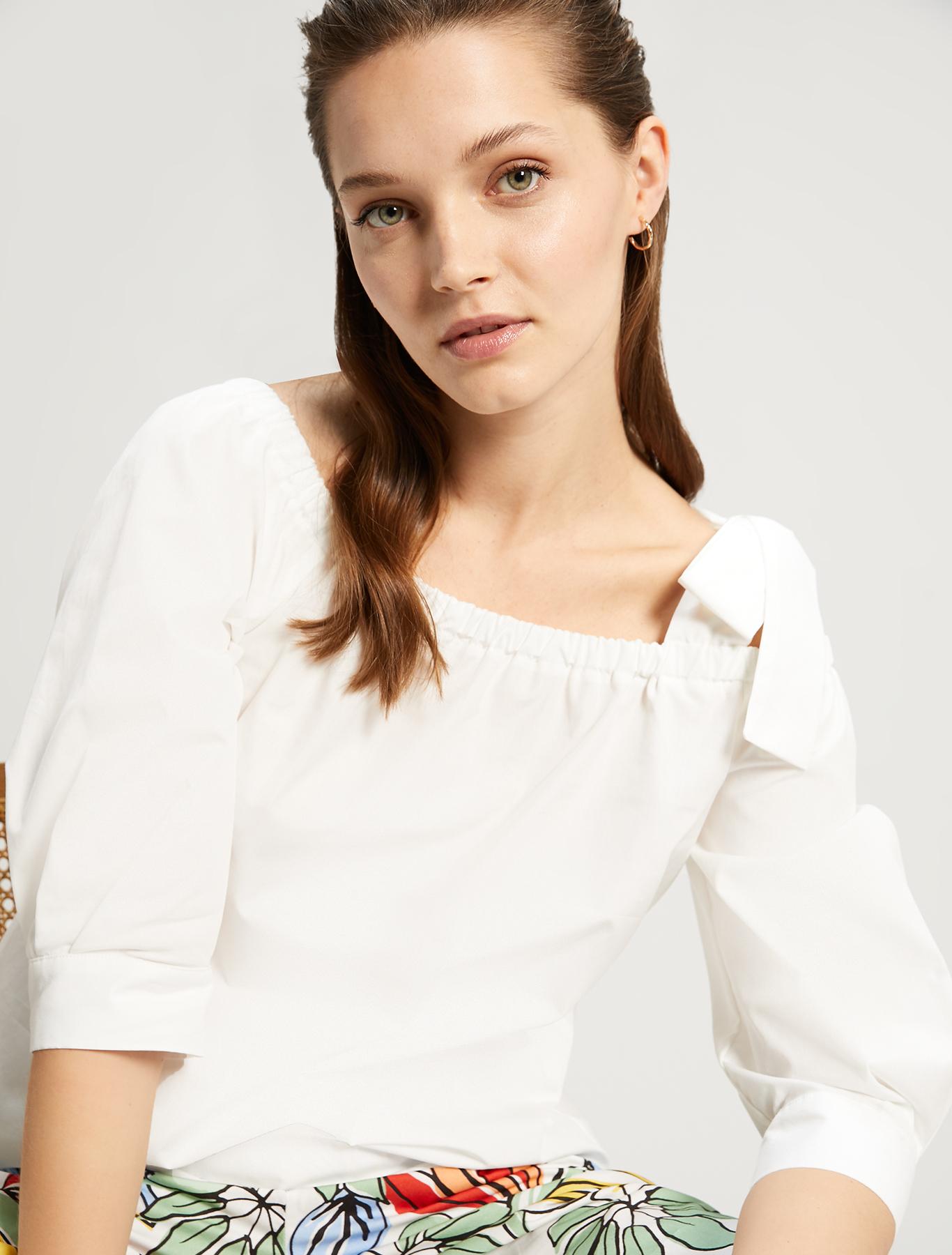 Cotton poplin blouse - white - pennyblack