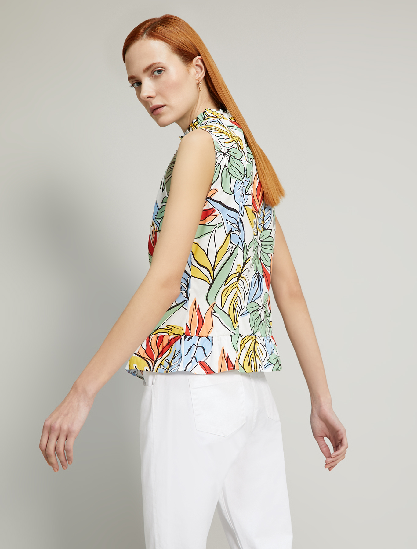 Printed poplin top - white pattern - pennyblack