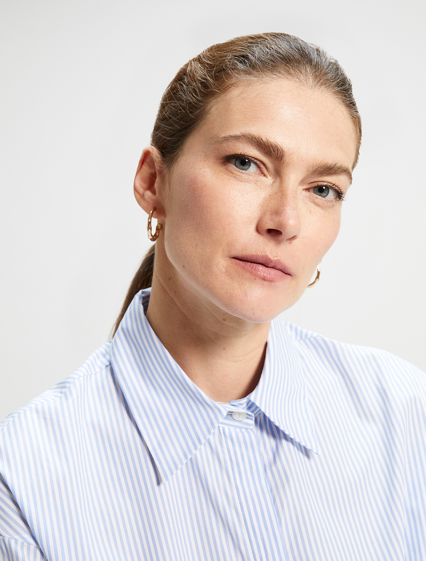 Cotton poplin shirt - light blue pattern - pennyblack