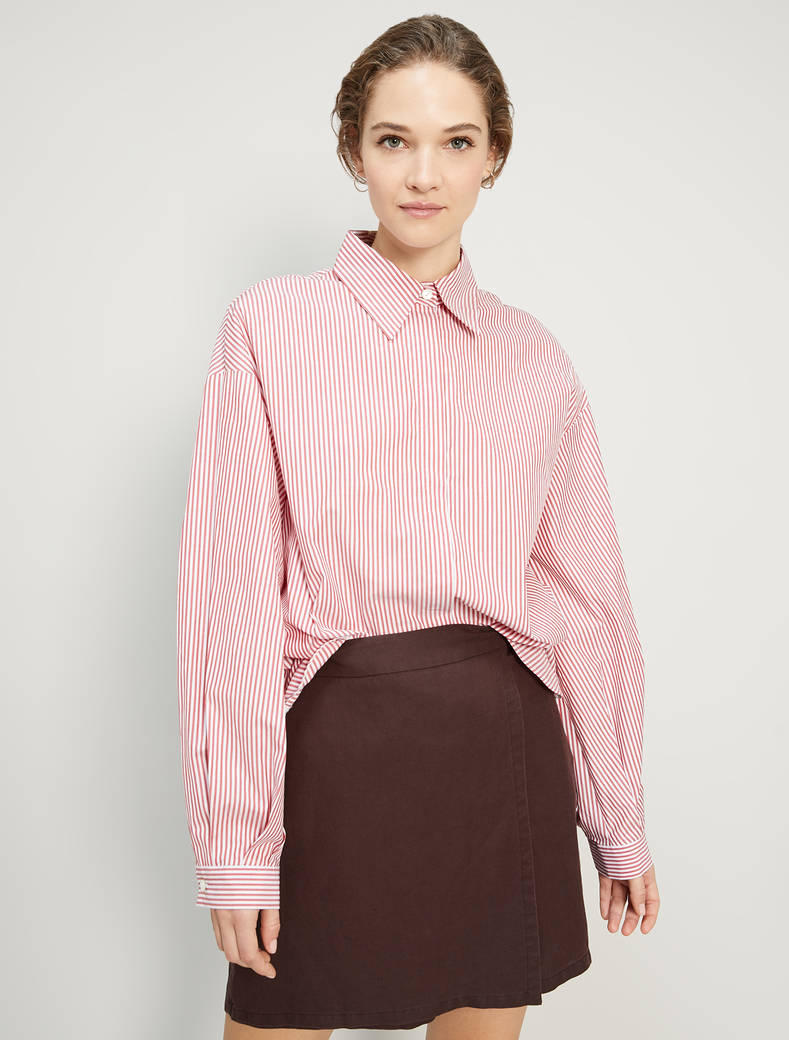 Cotton poplin shirt - red pattern - pennyblack