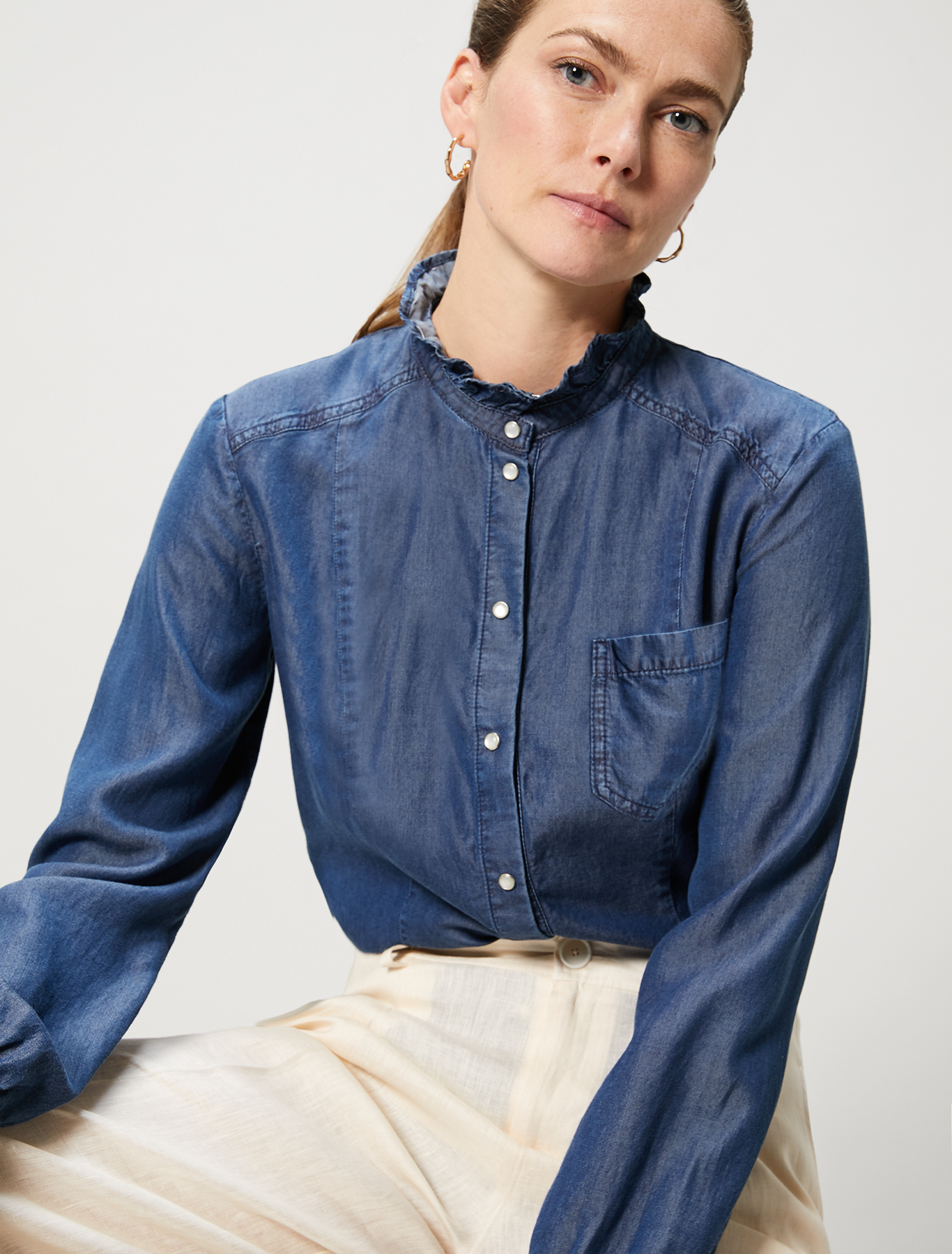 Flowing denim shirt - navy blue - pennyblack