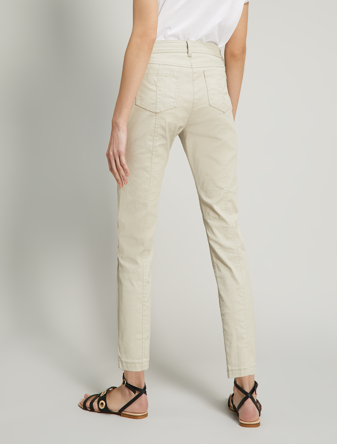 Cotton satin trousers - beige - pennyblack