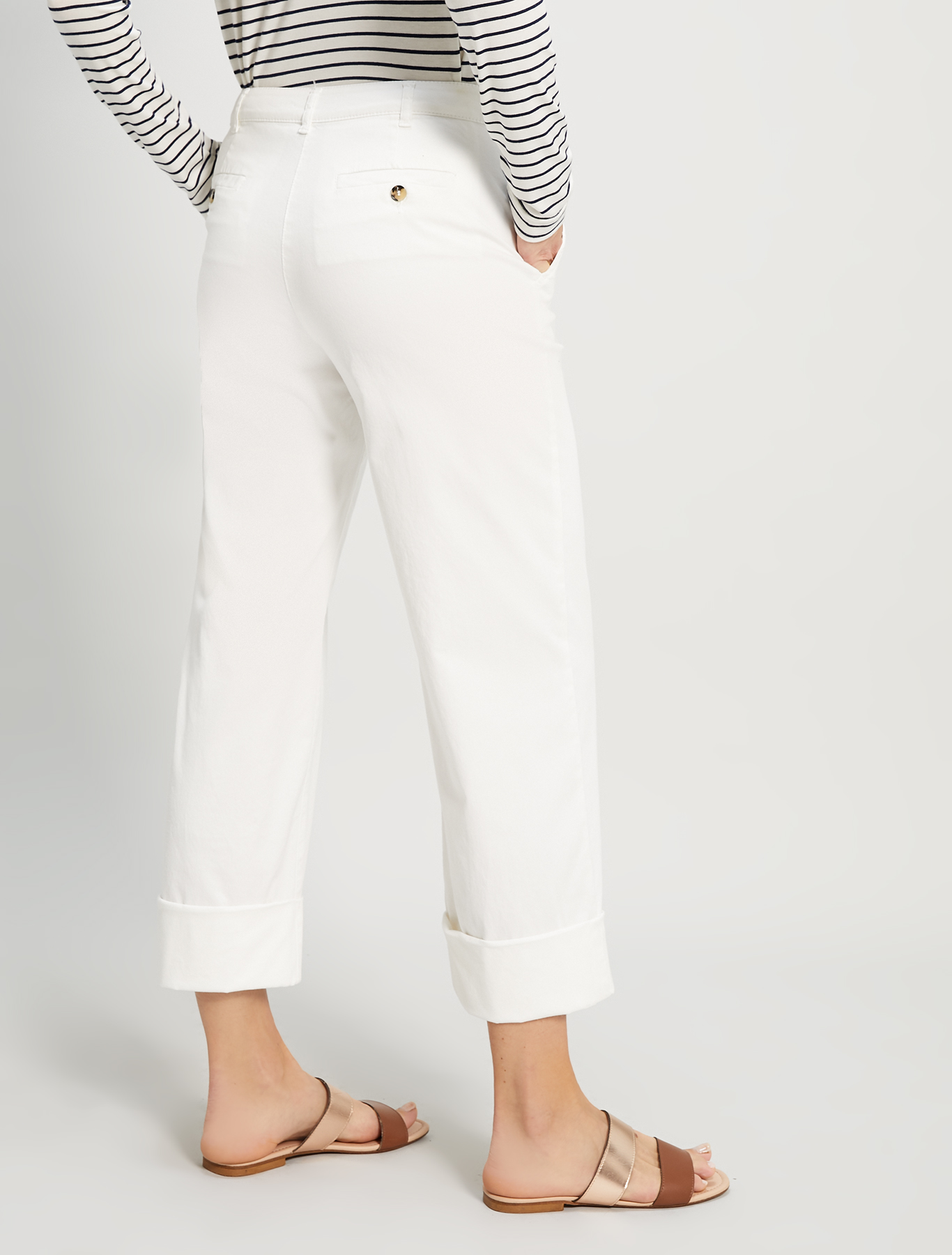 Piqué cotton trousers - ivory - pennyblack