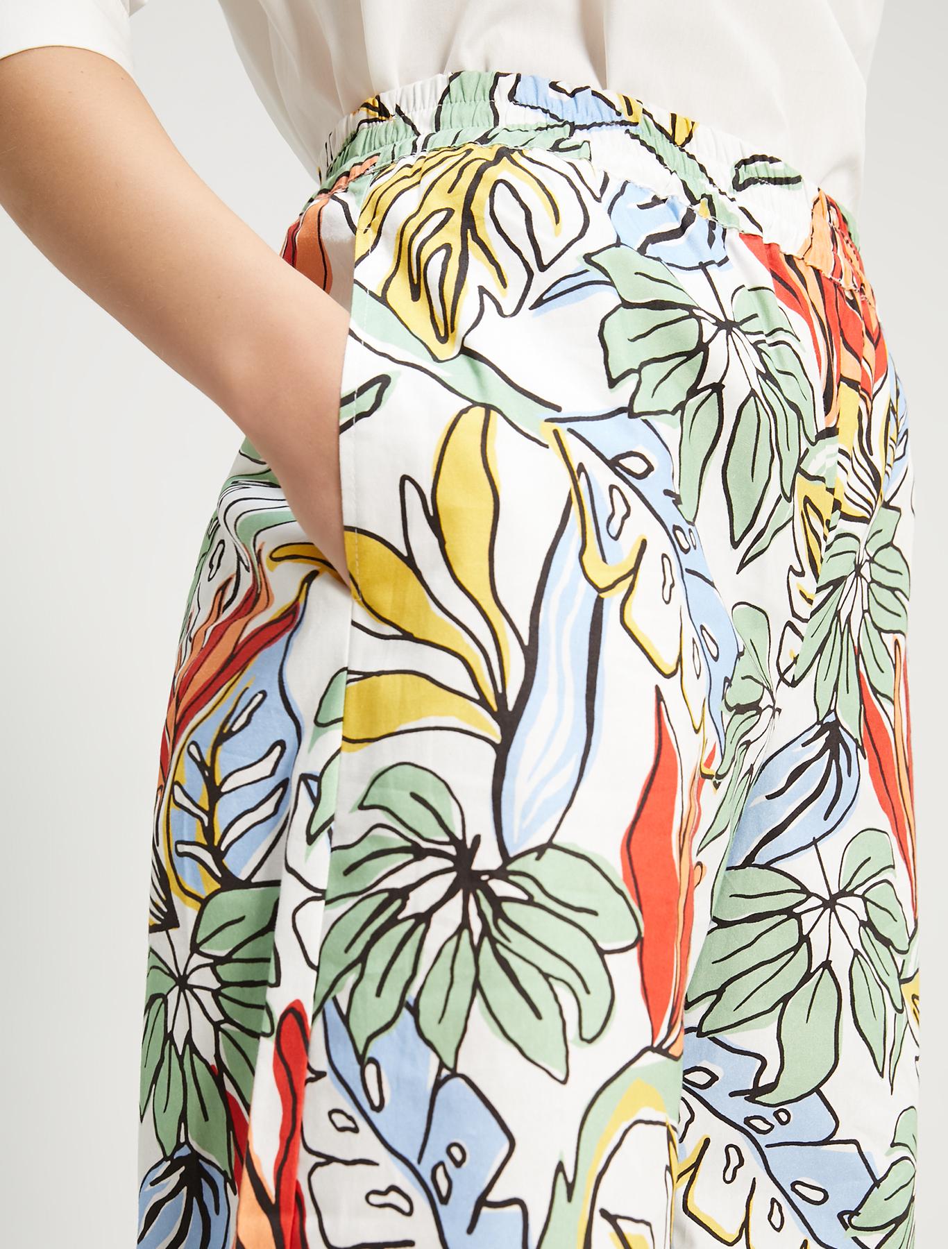 Printed poplin trousers - white pattern - pennyblack