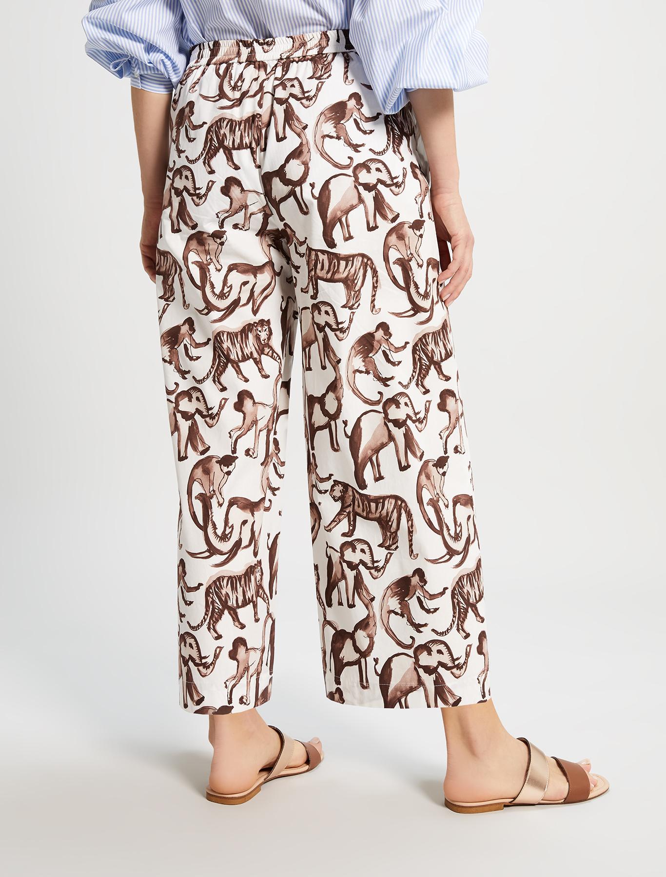 Printed poplin trousers - ivory pattern - pennyblack