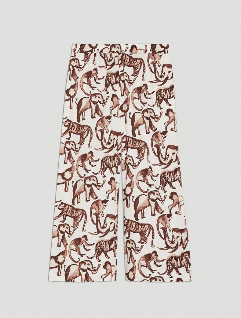 Pantaloni in popeline stampato - fantasia bianco avorio - pennyblack