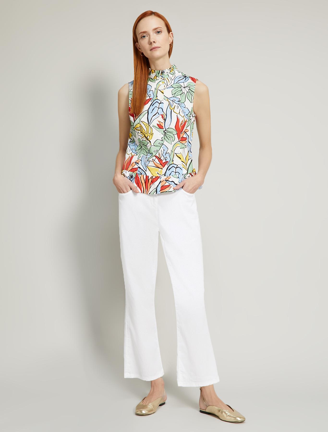 Cotton kick-flare trousers - optic white - pennyblack