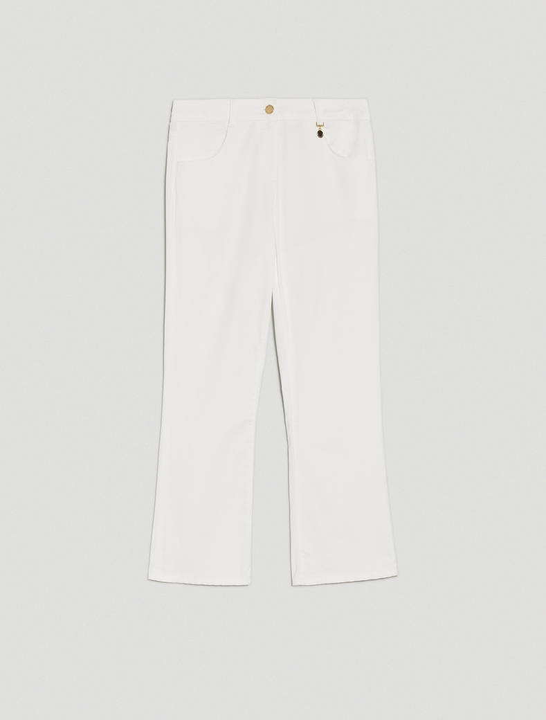 Cotton kick-flare trousers - optic white - pennyblack