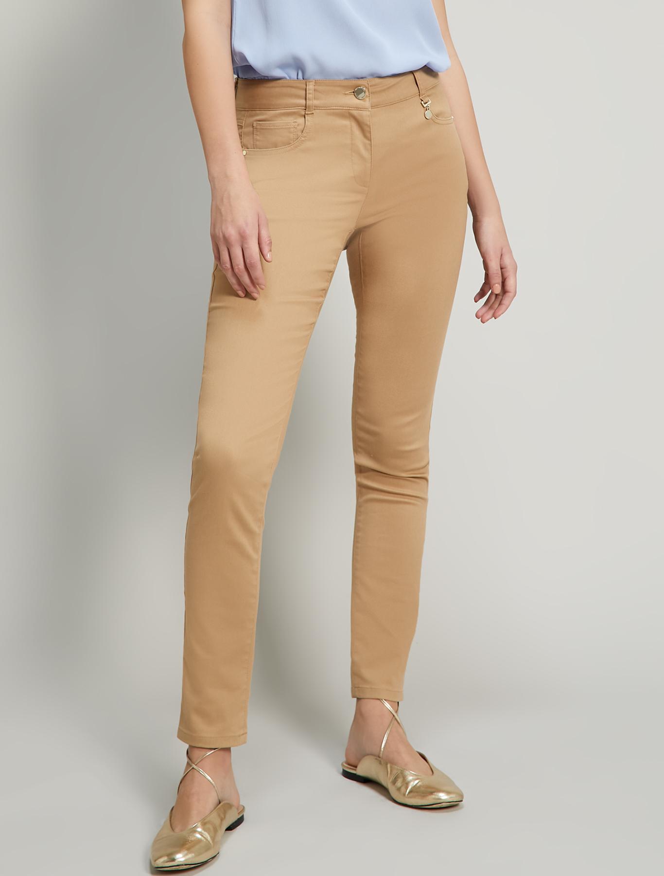 Skinny-fit trousers in gabardine - beige - pennyblack