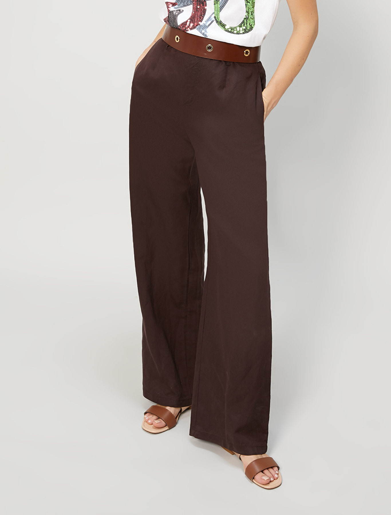 Linen blend trousers - brown - pennyblack