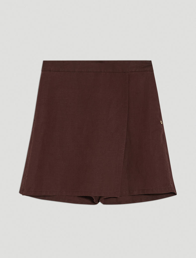 Linen blend Bermuda shorts - brown - pennyblack