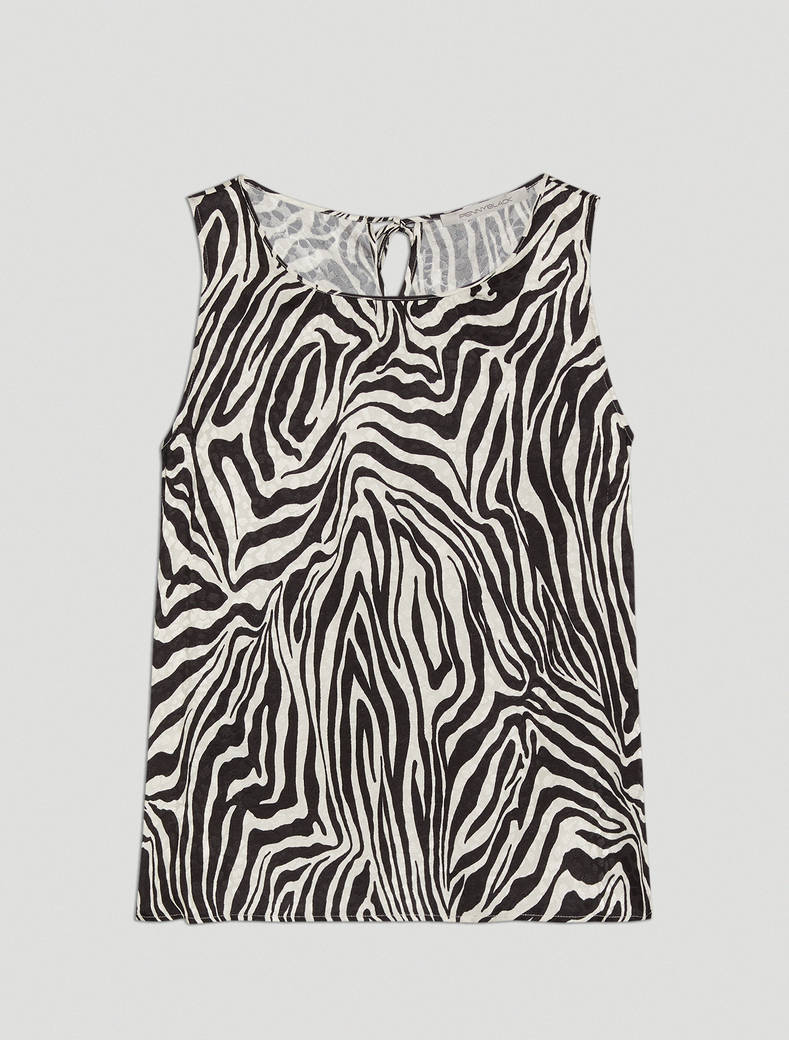 Jacquard zebra print top - black pattern - pennyblack