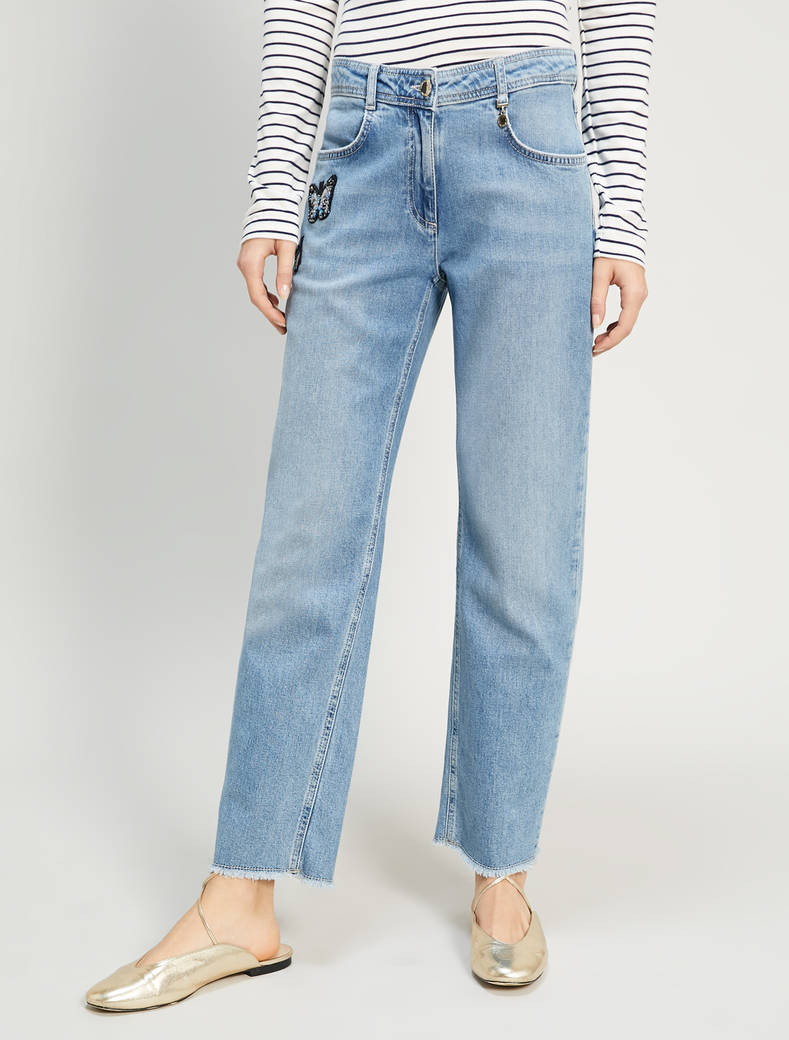 Jeans with butterfly patches - cornflower blue - pennyblack