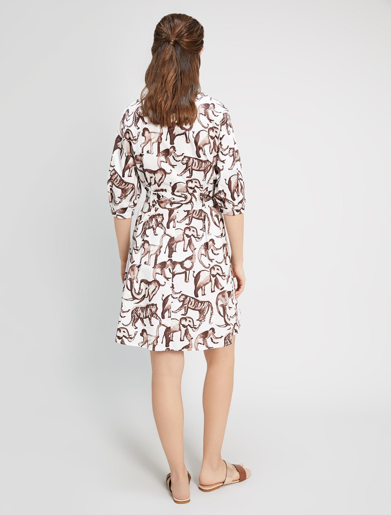 Poplin cotton shirt dress - ivory pattern - pennyblack