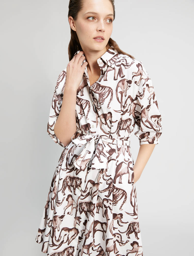 Poplin cotton shirt dress - ivory pattern - pennyblack