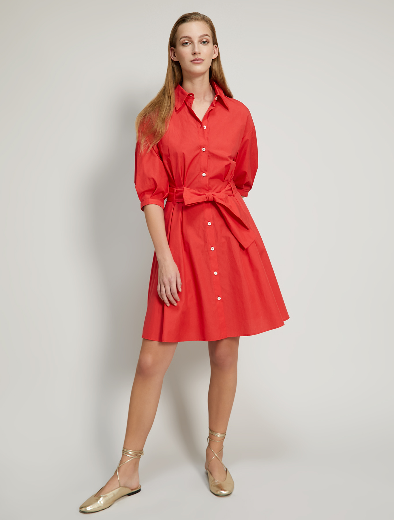 Poplin cotton shirt dress - coral - pennyblack