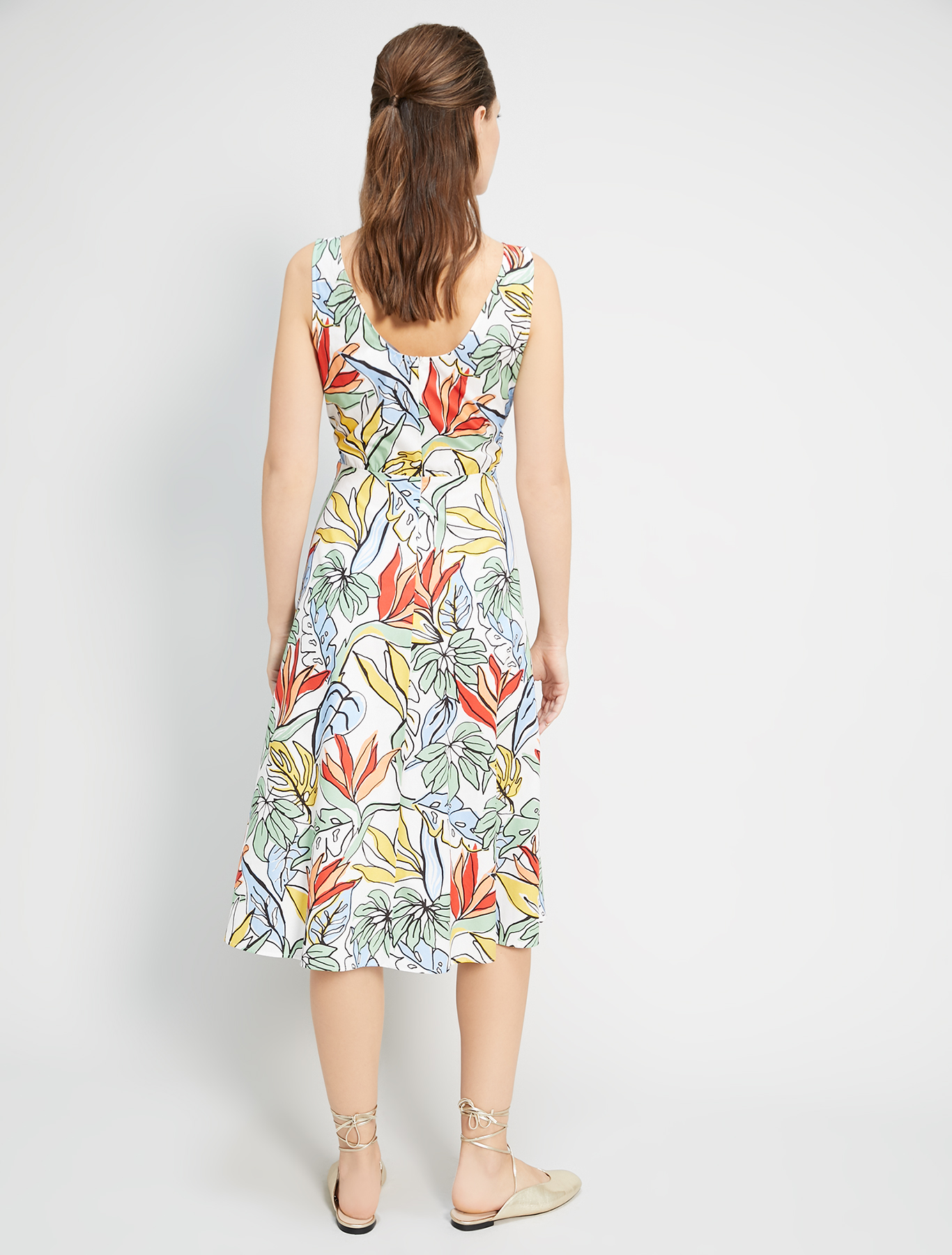 Dress in printed poplin - white pattern - pennyblack