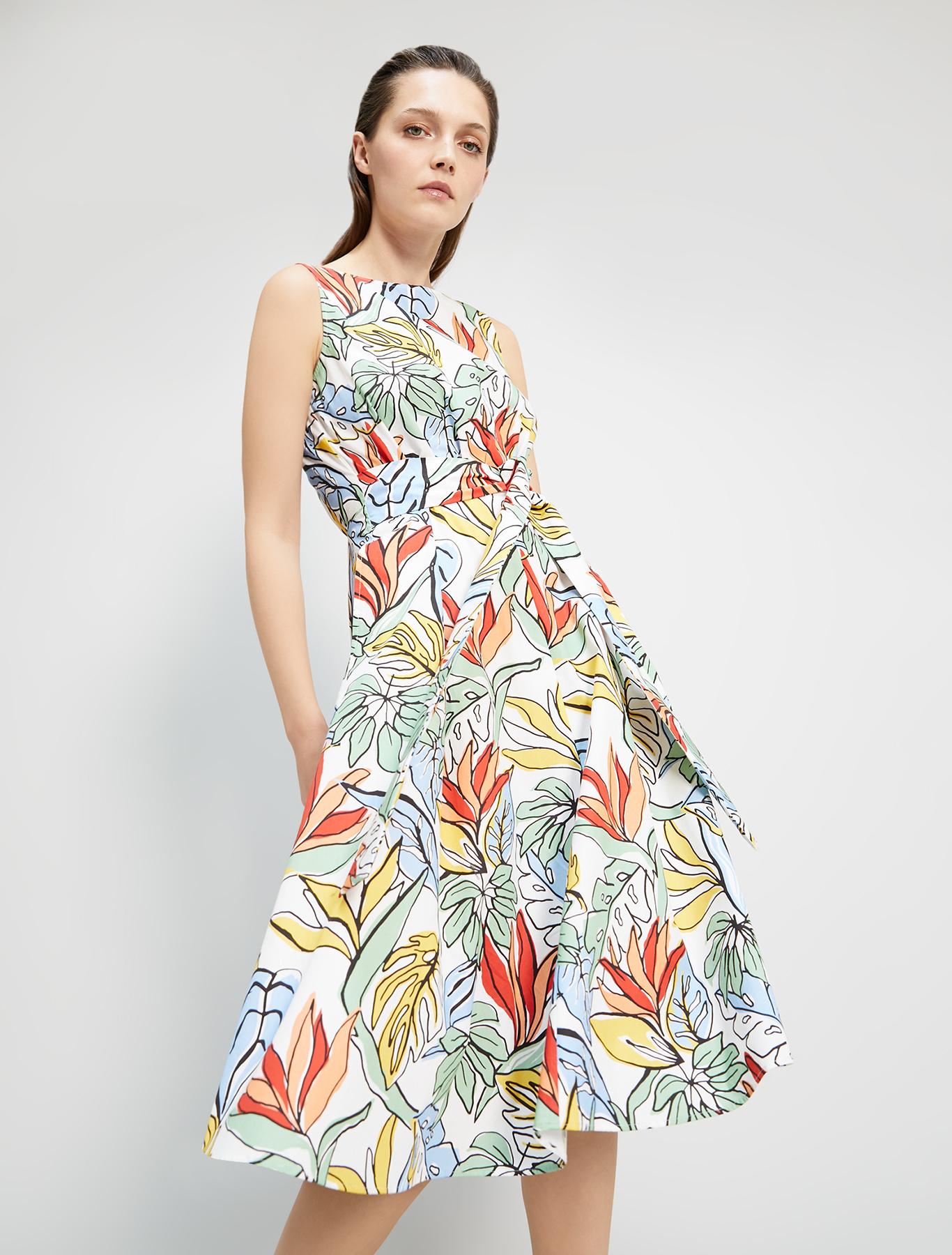 Dress in printed poplin - white pattern - pennyblack
