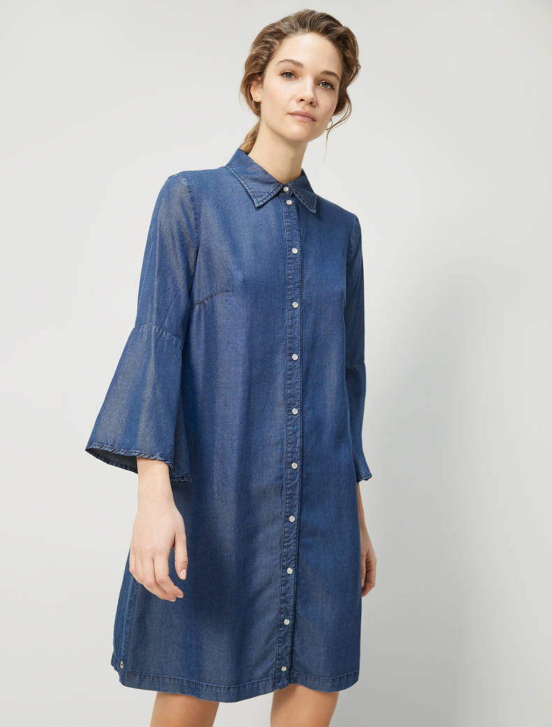 Flowing denim shirt dress - navy blue - pennyblack
