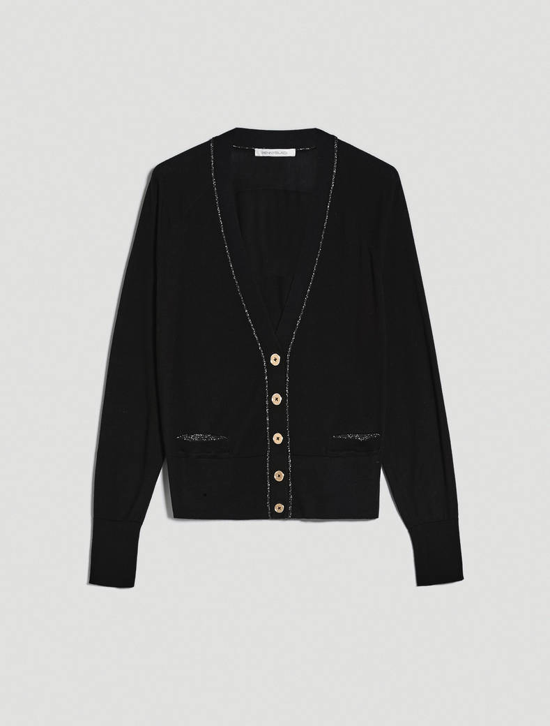 Comfort cotton cardigan with lamé - black - pennyblack