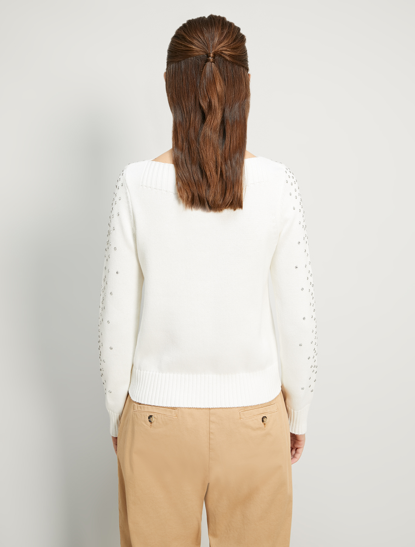 Cotton jumper with rhinestones - ivory - pennyblack
