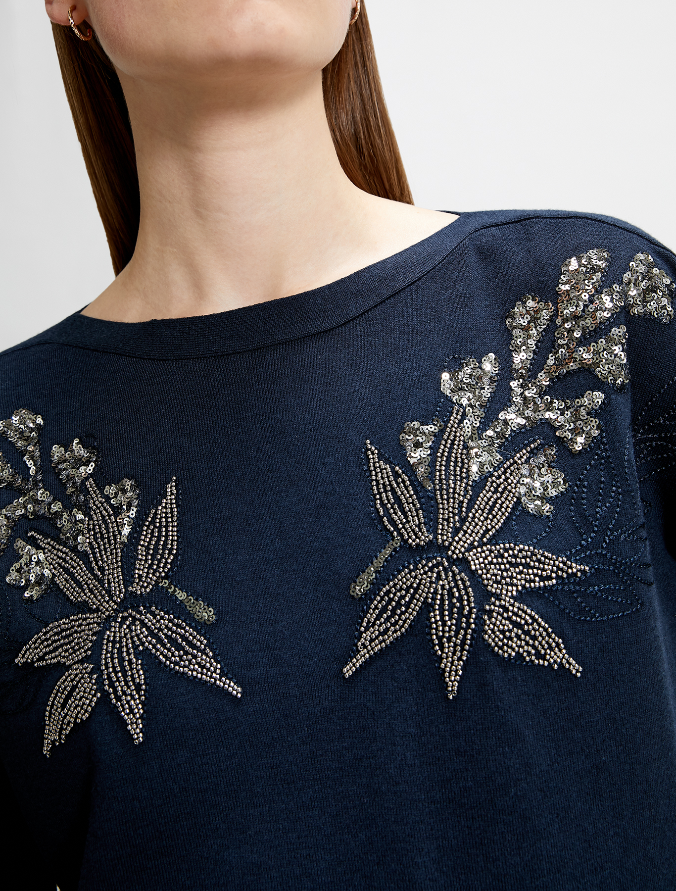 Jumper with jewelled embroidery - navy blue - pennyblack