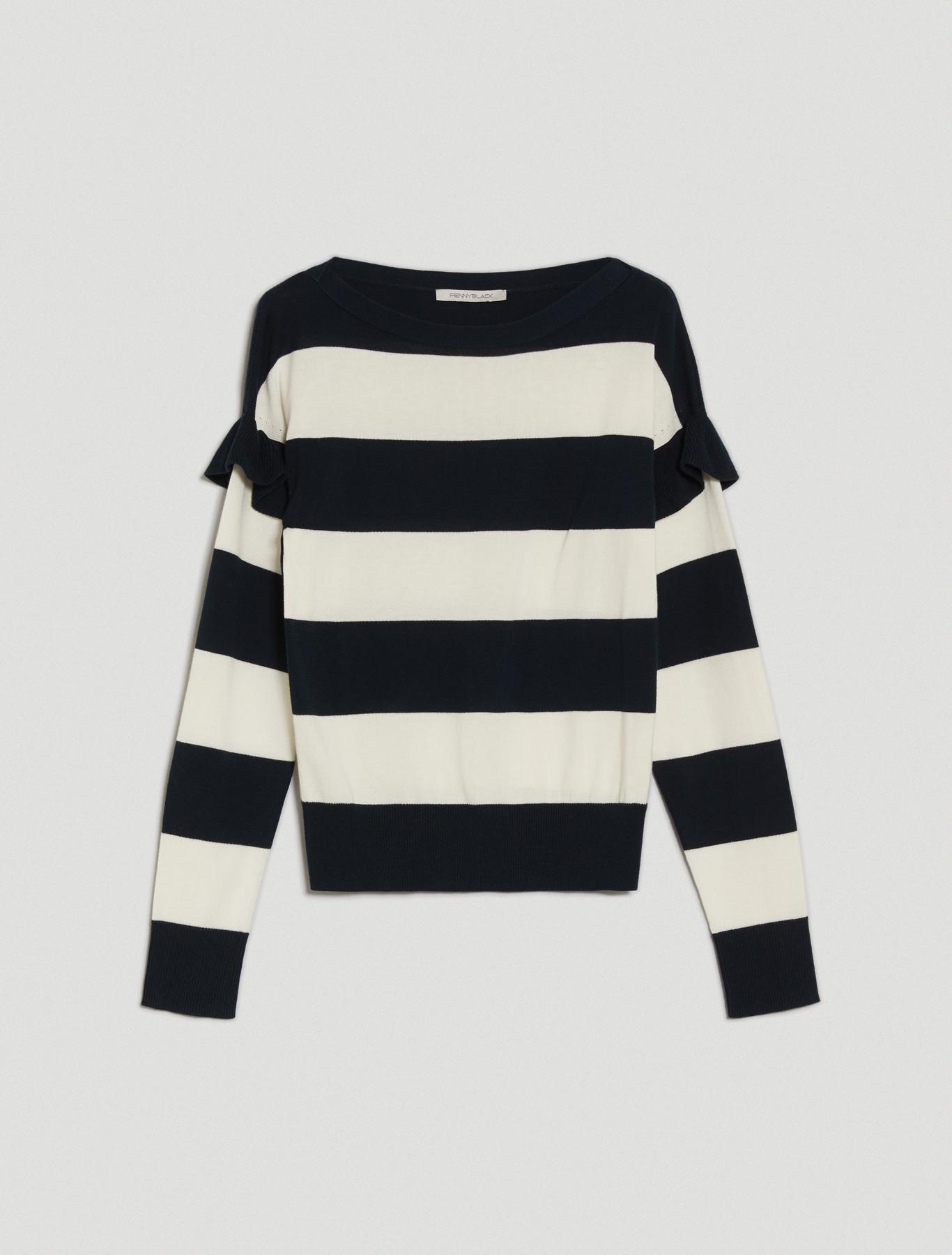 Ruched cotton jumper - navy blue pattern - pennyblack
